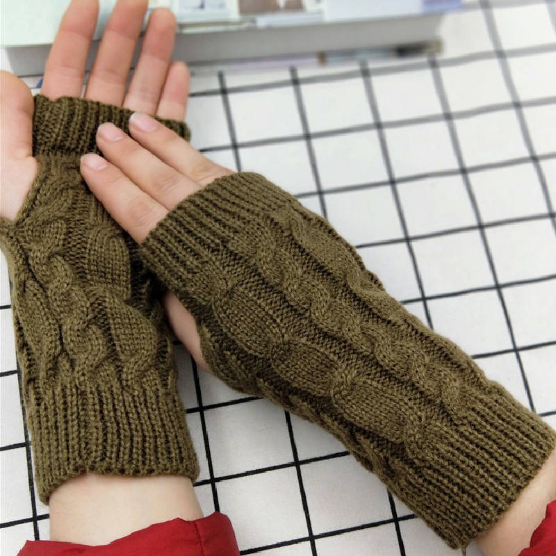 Hot Sale Winter Wool Mitten Knitted Fingerless Gloves Women Warm Short Gloves Gants Vintage Arm Crochet Knitting Hand Warmer