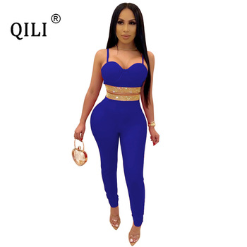 QILI Women Two Piece Set Diamonds Sexy Rhinestone Jumpsuits Rompers Club 2 Outfits Red Black Blue Green