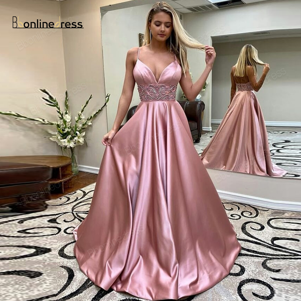 Charming Prom Dress Satin A-Line Long Prom Dress Spaghetti Strap Floor Length Formal Party Gowns Plus Size Vestido-de-festa