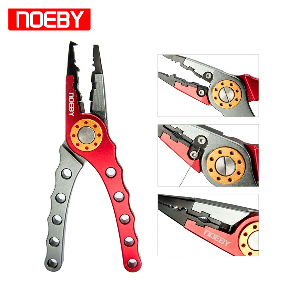 NOEBY Stainless Steel Fishing Pliers Cutting Pliers For Fishing Tackle Split Ring And Tether Multifunction Tools Red Color