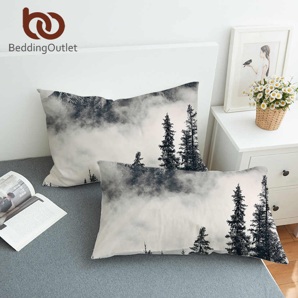 BeddingOutlet Forest Body Pillowcase Coniferous Tree Decorative Pillow Case Foggy Mountain Pillow Cover Nature Bedding One Pair