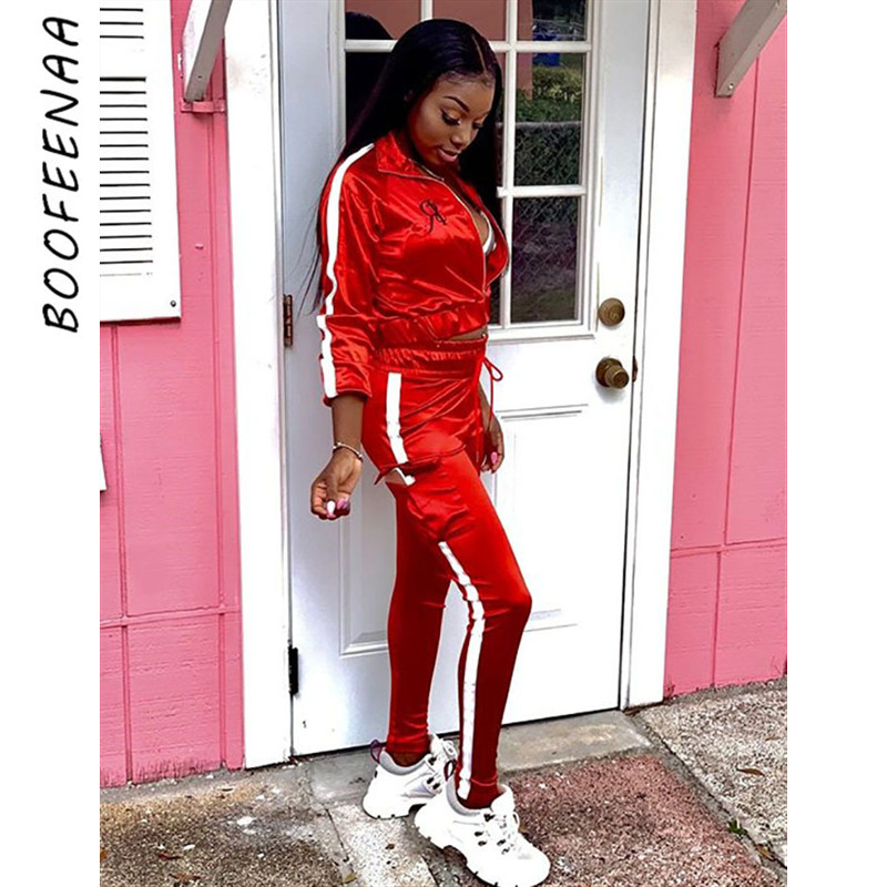 BOOFEENAA Fall Outfit Women Jogging Sets Reflective Striped Neon Satin Tracksuit Sweat Suits Two Piece Set Top And Pants C0-AE64