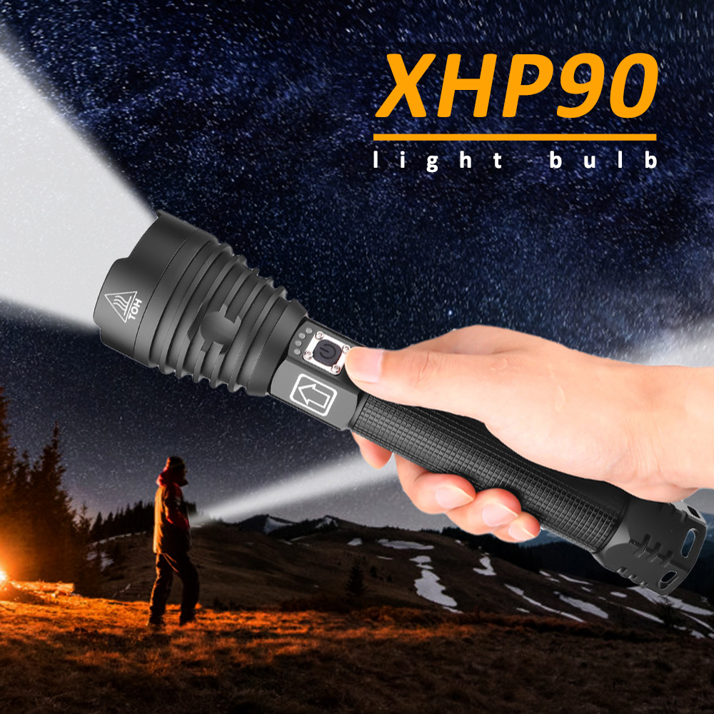 Most Powerful XHP90 LED Flashlight Electric Torch USB Rechargeable Tactical Flash Light Waterproof Zoom Light Hard Light 26650