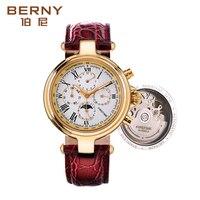 Berühmte Marke Edelstahl Luxus Uhr Herren Automatische Uhr mechanische uhren Moon Phase Mechanische Uhren Mit Gesicht Maske-in Mechanische Uhren aus Uhren bei