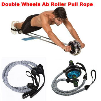 2PC Waist Abdominal Slimming Equipment Double Wheels Ab Roller Stretch Trainer Resistance Exercise Fitness Elastic Pull Rope 1