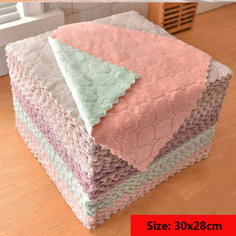 Micro Fiber Cleaning Cloth Rags Water Absorption Non Stick Oil Washing Kitchen Towel Household Tools Cleaning Wiping Tools