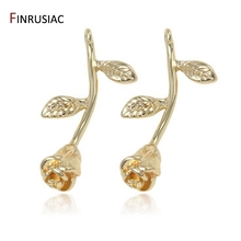 2020 New Designer Flower Charm Plated Gold Rose Pendant DIY Earrings Charms Making Necklace Accessories