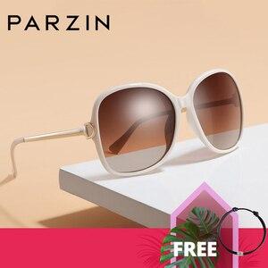 Image 1 - PARZIN 2019 Brand Fashion Big Frame Women Polarized Sunglasses High Quality Vintage Metal Temple Design Sun Glasses
