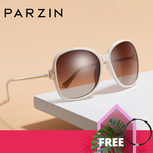 PARZIN 2019 브랜드 패션 빅 프레임 여성 편광 된 선글라스 고품질 빈티지 금속 사원 디자인 태양 안경
