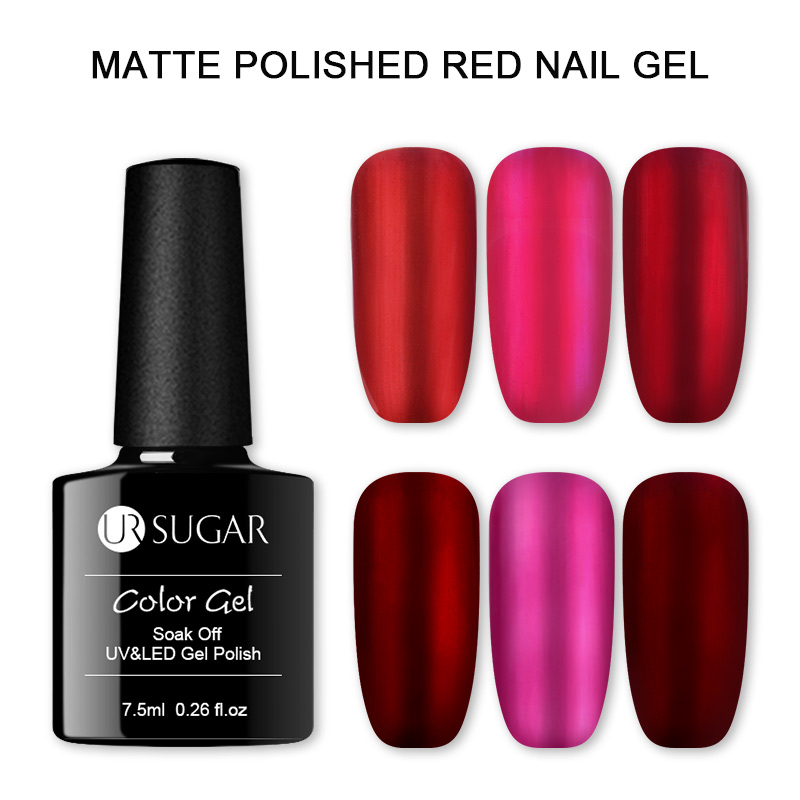 UR SUGAR 7.5ml Matte Red Wine Nail Gel Titanium Red Gel Nail Polish Metal Color Soak Off UV Gel Varnish Silver Base Needed
