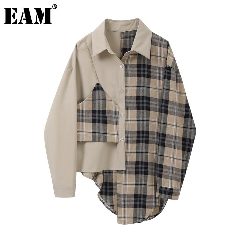 [EAM]-blusa holgada de manga larga con solapa nueva para primavera y otoño, camisa holgada con abertura Irregular para mujer, 2020