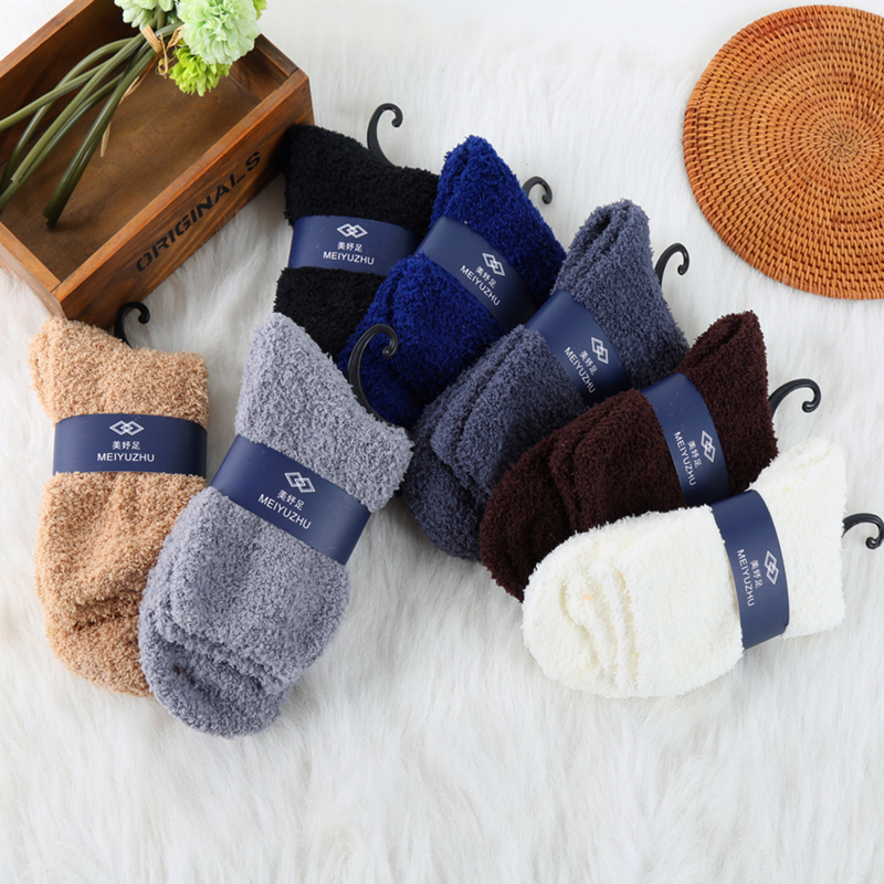 New Arrival 1 Pair Cashmere Socks For Men Winter Warm Sleep Bed Floor Sock Home Fluffy Thick Crew Socks Dropship Unisex Socks