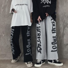 Loose Trousers Leg-Pants Oversized Graffiti Streetwear QWEEK Letter Print Japanese High-Waist