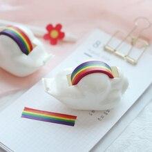 Korean Style Ins Baiyun Tape Dispenser Washi Tape Set Rainbow Handmade and Paper Tape Seat Cutting Bottom Organizer Holder