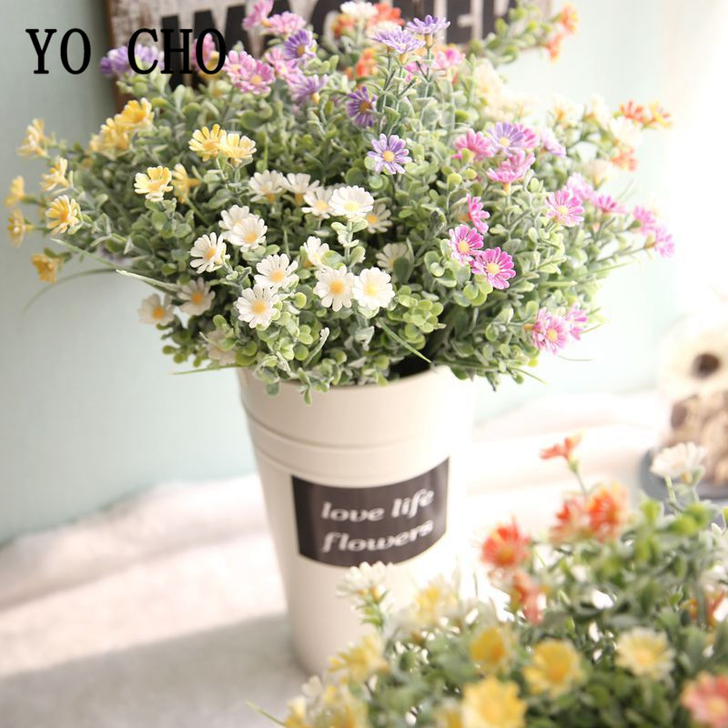 Flocking Gerbera Artificial Flowers Small Bouquet Plastic Fake Flowers Daisy Bouquet Wedding Decor Indoor Faux Flores DIY Supply