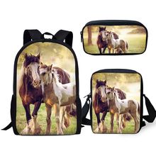 HaoYun Fashion 3PCs Set Backpacks Cute Horse Pattern Kids School Book Bags Cartoon Students Backpack/Flaps Bags/Pen