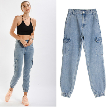 Pockets Patchwork Wide-Legged Harlan High Waist Jeans Light Blue Women Streetwear Boyfriend Jean Vintage Loose Cargo Pants