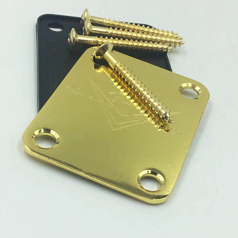 Gold Custom Shop Neck Plate For Strat/Tele  Electric Guitar Musical Instrument Parts Including Screw