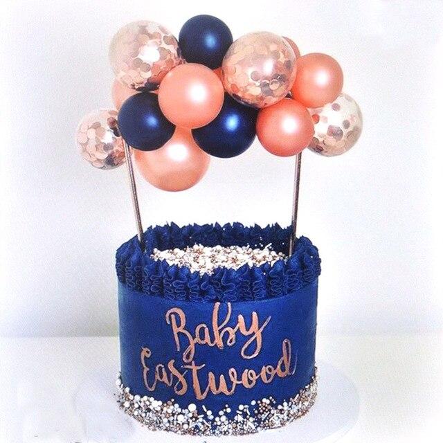 14 pcs/Pack Ballon gâteau Topper forme ronde confettis Ballon gâteau Topper Ballons pour anniversaire bébé douche décoration de mariage