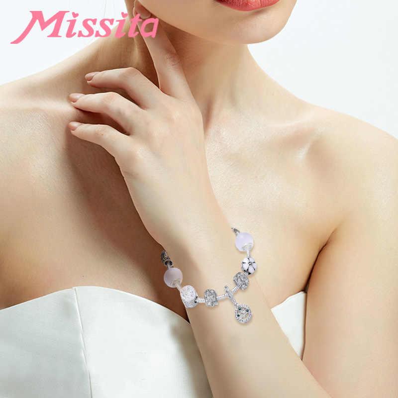 MISSITA טבעי & חיים סדרת קסם צמיד עם הולו פרח קסם מותג צמיד נשים שנה מסיבת מתנה לאמא