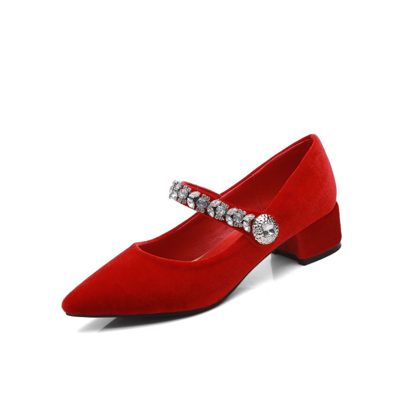 Big Size 11 12 13 ladies high heels women shoes woman pumps Marie's velvet-tipped water drill buckled single shoe