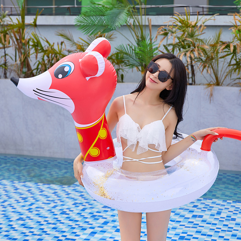 Cute Animal Mouse Swimming Ring Kids Inflatable Infant Armpit Floating Rings Transparent PVC Baby Swim Pool Toy Float Buoy