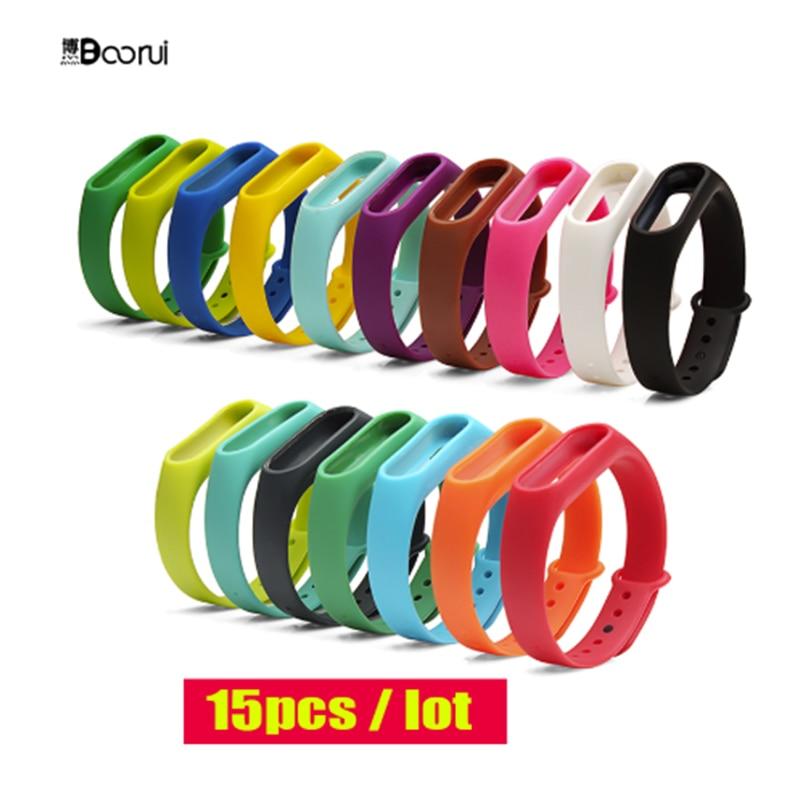15pcs/lot BOORUI Wholesale Miband 2 Strap  Correa Wrist Strap For Xiaomi Mi2 Smart Band Pulsera  Adjustable Replacement For Mi2