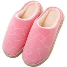 Plush Cartoon Stripe Winter Home Women Slippers Warm  Cotton Shoes Warm Slippers Indoor Loves Couple Floor Shoes Bedroom TUX64 стоимость