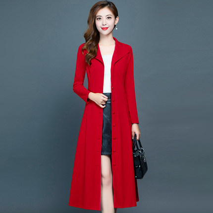 NEW Trench coat women's long 2019 autumn new red cross-knee ladies coat Joker slim fashion coat