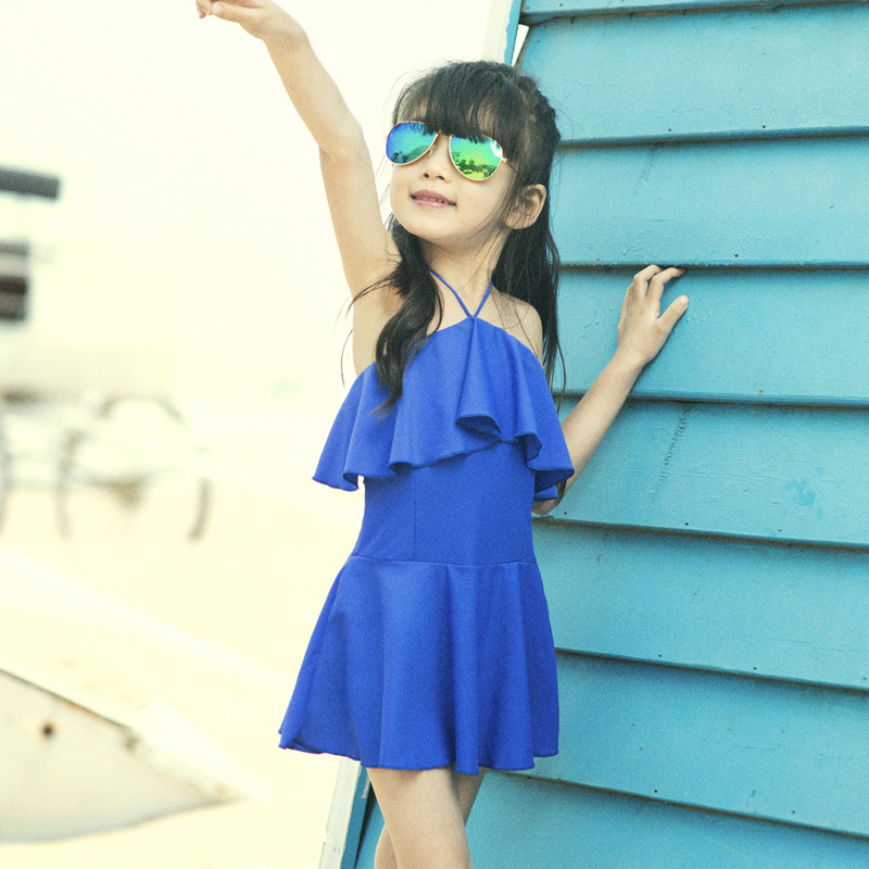 South Korea Flounced KID'S Swimwear One-piece Girls Hot Springs Bathing Suit Conservative Skirt One-Piece Small Children Swimwea