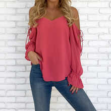 Chiffon Cotton Women Long Sleeve Blouses Trendy Off Shoulder Hollow Patchwork Blouses Leisure Blouse 2019 Casual Tops pink hollow design cold shoulder long sleeves blouses