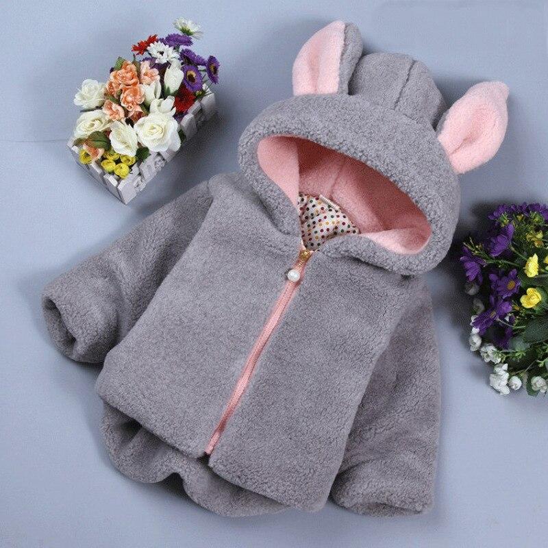 Зимнее пальто для маленьких девочек, Модное новое шерстяное пальто, пальто с капюшоном и мультяшными кроличьими ушками для девочек, плотное...