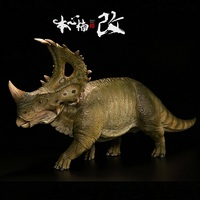 1:35 Tower Shield Dinosaur Sinoceratops with Human Figure Animal Figure Toy Collection Model Toy