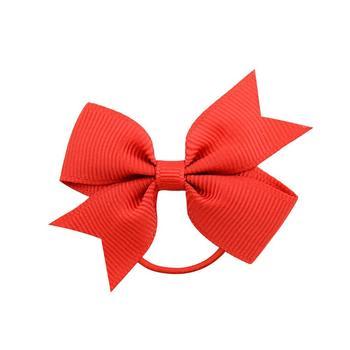20Pcs/lot Solid Grosgrain Ribbon Bows For Baby Girls Ponytail Holder Hair Bands Elastic Rope Handmade Headband Hair Accessories 6