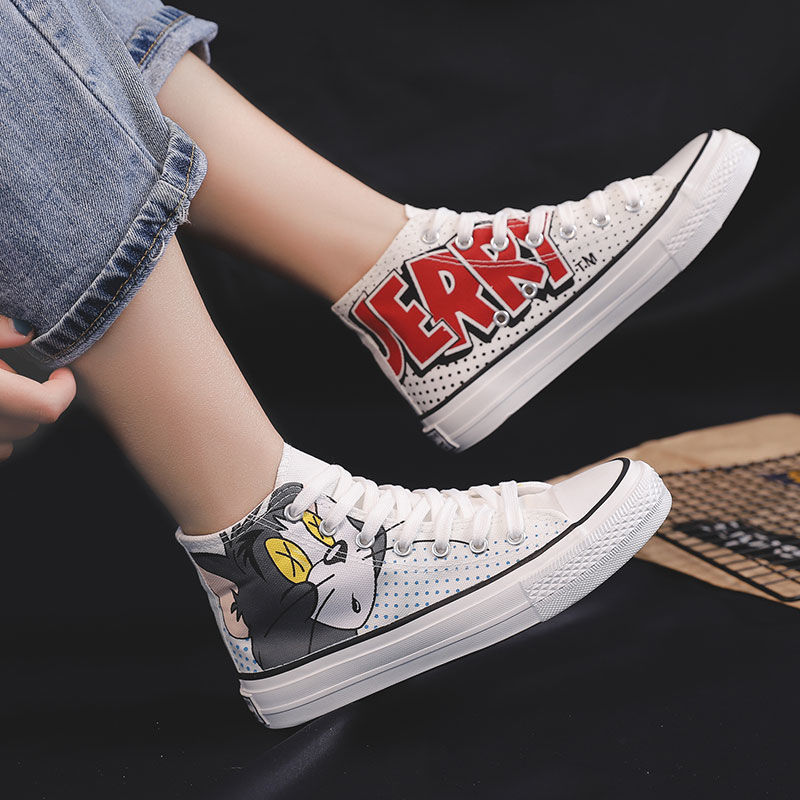 2020 Ins Canvas Shoes Women Teenagers Skateboard Shoes Spring Summer Candy Color Street Sneaker Cartoon Outdoor Footware 35-40
