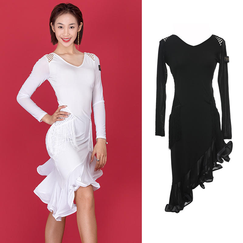 Adults Latin Dress Sexy Mesh Tassel Irregular Dresses Rumba Samba Salsa Cha Cha Dance Practice Performance Wear Ladies DN4944