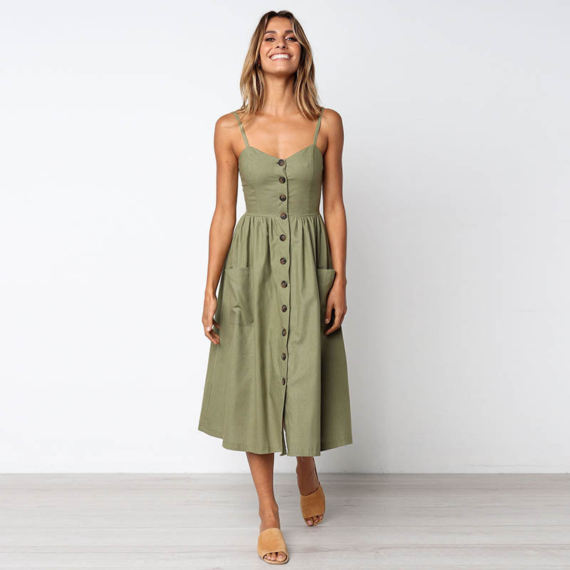 Women Summer Dress <font><b>2019</b></font> V-neck Off Shoulder Midi Dress <font><b>Vestidos</b></font> Button Backless Sundress Female vestido <font><b>largo</b></font> <font><b>verano</b></font> <font><b>mujer</b></font> image