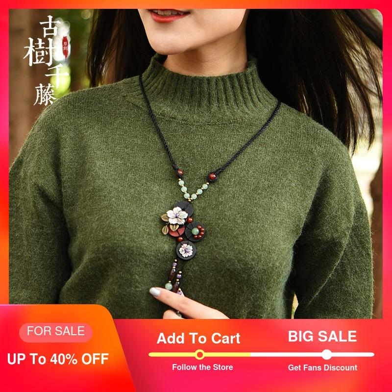 Vintage Wood Necklaces Woman Shell Flower long Necklace Pendant Rope Chain Ethnic Stone Necklace Fashion Jewelry 2019 new Gift Pendant Necklaces    - AliExpress