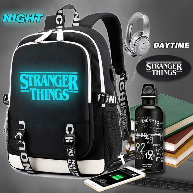 Luminous Backpack Multifunction USB Charging Stranger Things Travel Canvas Student Backpack For Teenagers Boys Girls School Bag