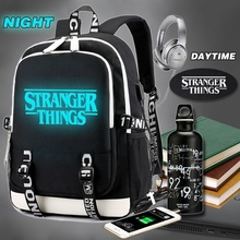 Luminous Backpack Multifunction USB Charging Stranger Things Travel Canvas Student For Teenagers Boys Girls School Bag