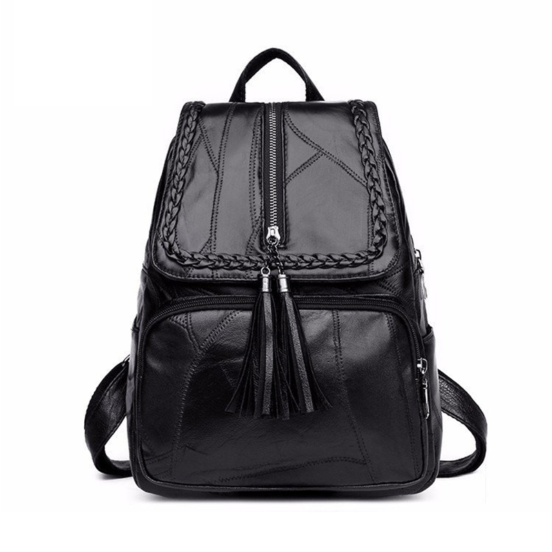 Multi-functional Female Tassel Backpack PU Leather Casual Rucksacks Lady Shoulder Bag Waterproof Girl Travel Bagpacks Black NEW