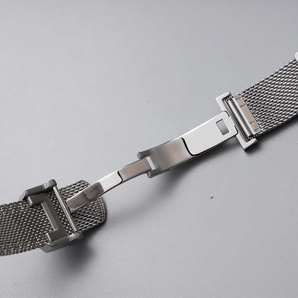 20 22mm paslanmaz çelik siyah gümüş Watchband IW C Pilot erkek Portofino portekizce AQUATIMER bilek bilezik saat kayışı