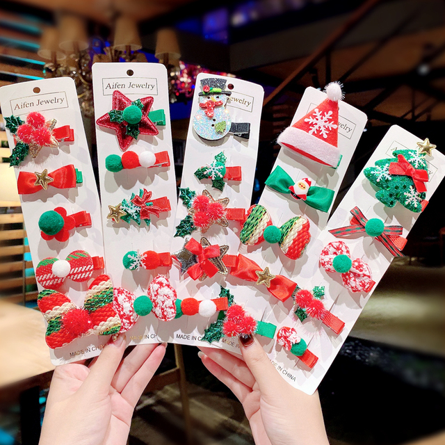 5 Pieces Set Merry Christmas Girls Cute Santa Claus Snowman Hairpin Hair Clip