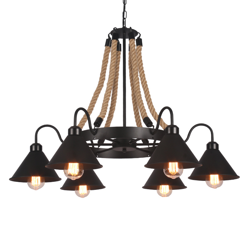 Black Rope Chandelier wrought iron chandelier Kitchen Bar Shopping mall Vintage Loft Retro Chandelier Lighting