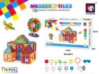 Hot sales ROHS ABS 70pcs buliding blocks magnet tiles magnetic constructions blocks tiles plastic toys