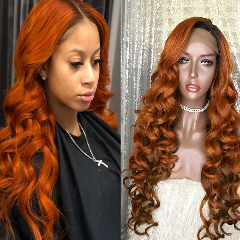 Ombre Orange Color Wave Wigs 360 Lace Front Human Wigs With Baby Hair 180 250 Density Pre Plucked Bleached Knots Honey Blonde