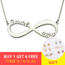 XiaoJing Personalized Infinity Necklace 925 Sterling Silver Custom Name Endless Love Jewelry Christmas Gifts wholesale