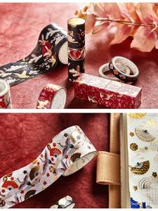 Sticker Tape-Set Masking Paper Flower Adhesive Gold-Crane Washi Vintage Ins-Design Garden