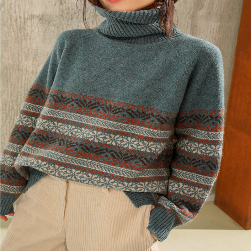 2019 New Thicken Sweater 100% Wool Blend XL Hedging Turtleneck Long Sleeve Color Sweater Christmas Ethnic Style Lady Sweater