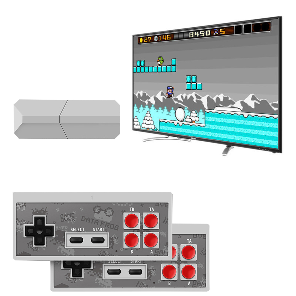 Data USB Wireless Handheld TV Video Game Console Build In 600 Classic Game 8 Bit Mini Video Console Support AV/HDMI Output
